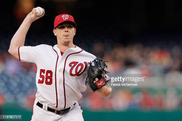 Jeremy Hellickson of the Washington Nationals pitches in the first inning against the San Francisco Giants at Nationals Park on April 17 2019 in...