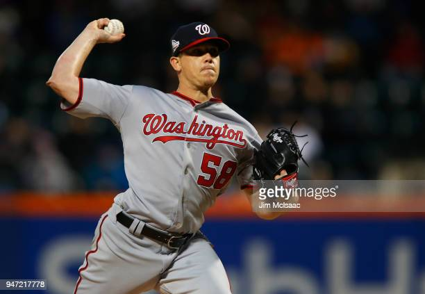 Jeremy Hellickson of the Washington Nationals pitches in the second inning against the New York Mets at Citi Field on April 16 2018 in the Flushing...