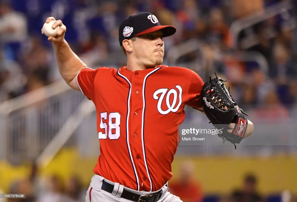 Jeremy Hellickson #58 of the Washington Nationals throws a pitch in the third inning against the Miami Marlins at Marlins Park on July 29, 2018 in Miami, Florida.