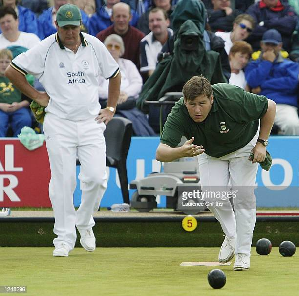 Jeremy Henry of Northern Ireland and John Robert Donnelly of South Africa in the Lawn Bowls Mens Singles at Heaton Park during the 2002 Commonwealth...