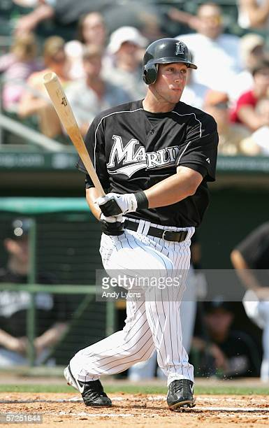 Jeremy Hermida of the Florida Marlins bats against the Baltimore Orioles during the Major League Baseball spring training game on March 3 2006 at...