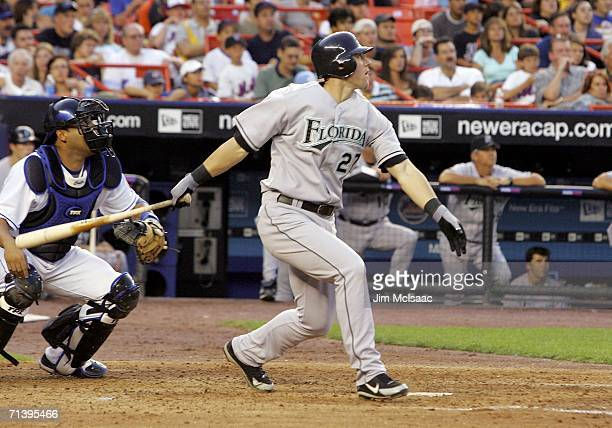 Jeremy Hermida of the Florida Marlins hits an RBI single in the 4th inning against the New York Mets on July 7, 2006 at Shea Stadium in the Flushing...