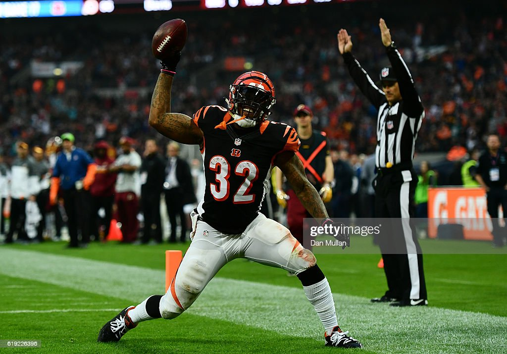 Jeremy Hill #32 of the Cincinnati Bengals celebrates after scoring a touchdown during the NFL International Series Game between Washington Redskins and Cincinnati Bengals at Wembley Stadium on October 30, 2016 in London, England.
