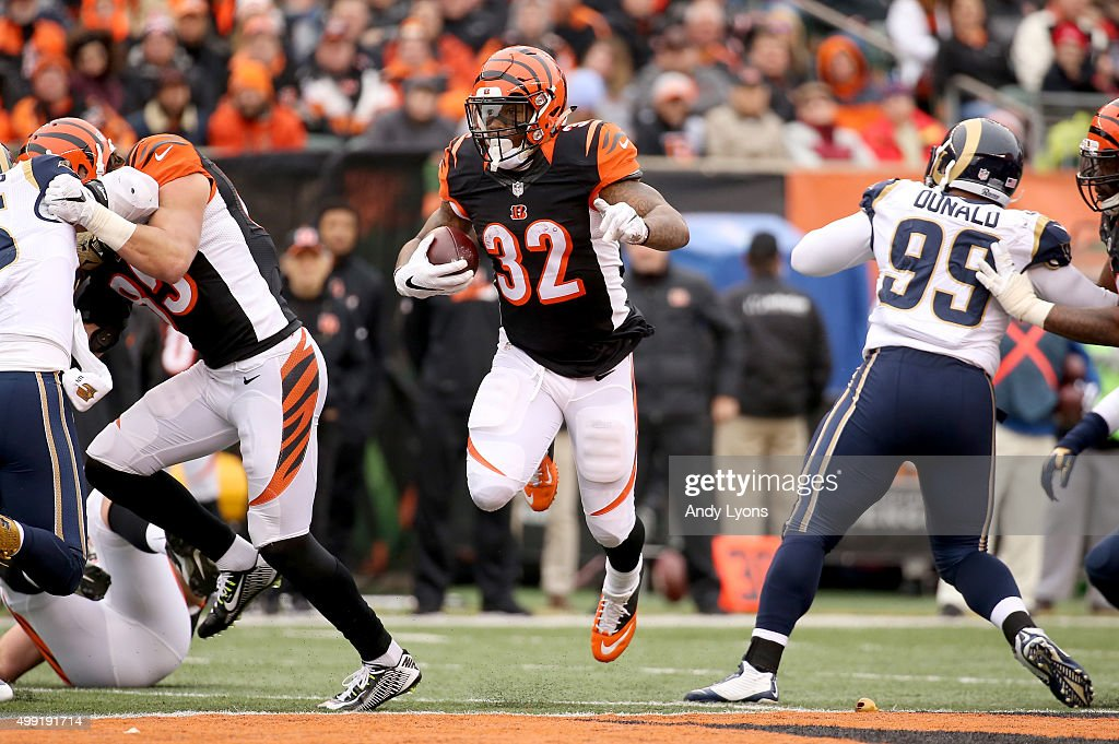 Jeremy Hill #32 of the Cincinnati Bengals rushes during the game against the St. Louis Rams at Paul Brown Stadium on November 29, 2015 in Cincinnati, Ohio.