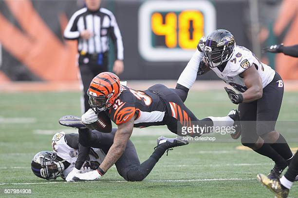 Jeremy Hill of the Cincinnati Bengals rushes the football upfield against Shareece Wright and Elvis Dumervil of the Baltimore Ravens during their...