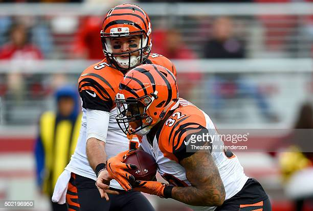 Jeremy Hill of the Cincinnati Bengals takes the handoff from quarterback AJ McCarron against the San Francisco 49ers during an NFL football game at...