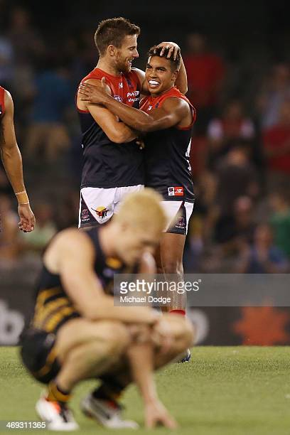 Jeremy Howe and Jay KennedyHarris of the Demons celebrate their win during the round one AFL NAB Challenge Cup match between the Richmond Tigers and...