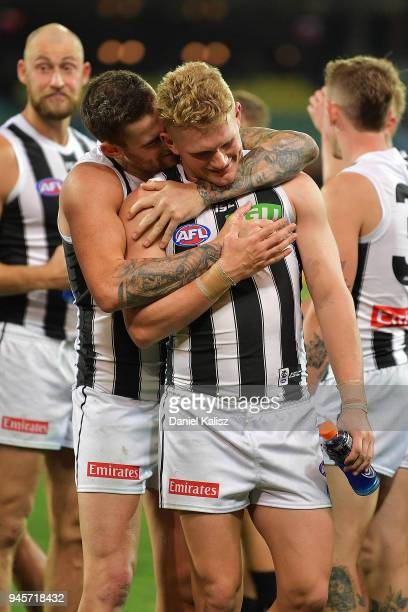 Jeremy Howe of the Magpies and Adam Treloar of the Magpies celebrate after the round four AFL match between the Adelaide Crows and the Collingwood...