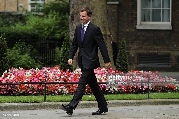 Jeremy Hunt arrives at Downing Street as Prime Minister Theresa May appoints her cabinet on July 14 2016 in London England The UK's New Prime...