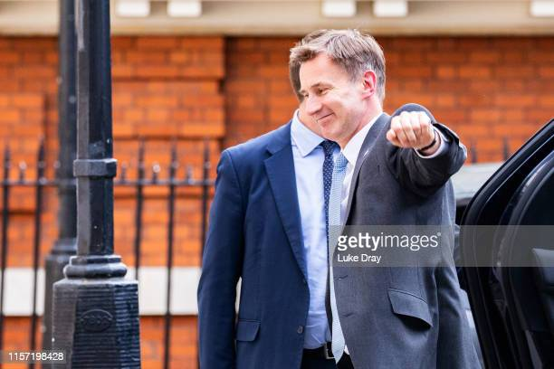 Jeremy Hunt arrives at the Foreign Secretary's Grace and Favour residence in Westminster on June 20 2019 in London England Jeremy Hunt came second to...