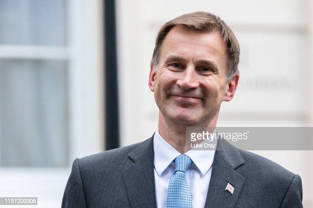 Jeremy Hunt is interviewed inside the grounds of the Foreign Secretary's Grace and Favour residence in Westminster on June 20, 2019 in London,...
