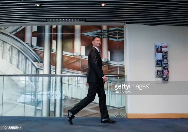 Jeremy Hunt Secretary of State for Foreign and Commonwealth Affairs makes his way to Symphony Hall in the International Convention Centre ahead of a...