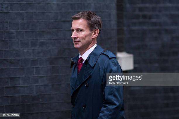 Jeremy Hunt Secretary of State for Health arrives at Downing Street for the government's weekly cabinet meeting on November 17 2015 in London England...
