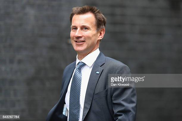Jeremy Hunt Secretary of State for Health arrives for a cabinet meeting at Downing Street on June 27 2016 in London England British Prime Minister...