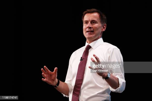 Jeremy Hunt talks at the final hustings of the Conservative leadership campaign at ExCeL London on July 17, 2019 in London, England. Boris Johnson...