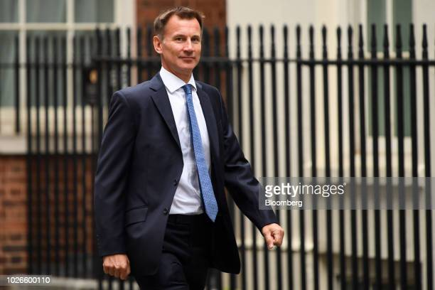 Jeremy Hunt UK foreign secretary arrives for a weekly meeting of cabinet ministers at number 10 Downing Street in London UK on Tuesday Sept 4 2018...