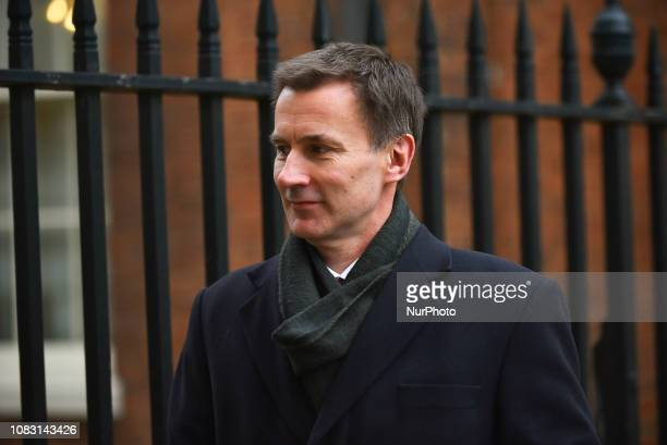 Jeremy Hunt UK foreign secretary leaves 10 Downing Street after attending the weekly Cabinet Meeting ahead of the meaningful vote in Parliament on...