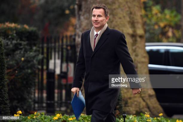 Jeremy Hunt UK health secretary arrives for a cabinet meeting at number 10 Downing Street in London UK on Tuesday Dec 19 2017 European Union Chief...