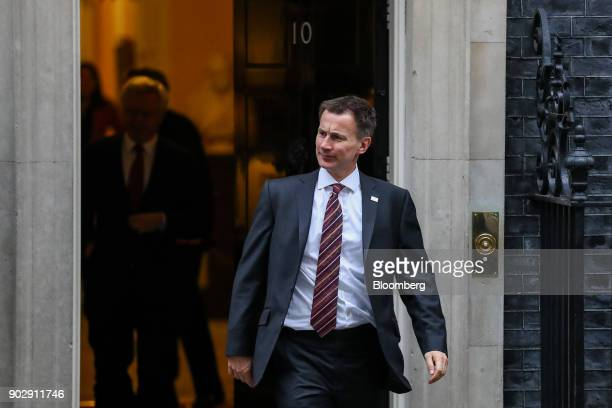 Jeremy Hunt UK health secretary leaves following a weekly meeting of cabinet minister at number 10 Downing Street in London UK on Tuesday Jan 9 2018...