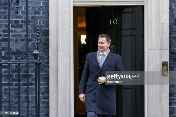 Jeremy Hunt UK health secretary leaves following a weekly meeting of cabinet ministers at number 10 Downing Street in London UK on Tuesday Jan 30...
