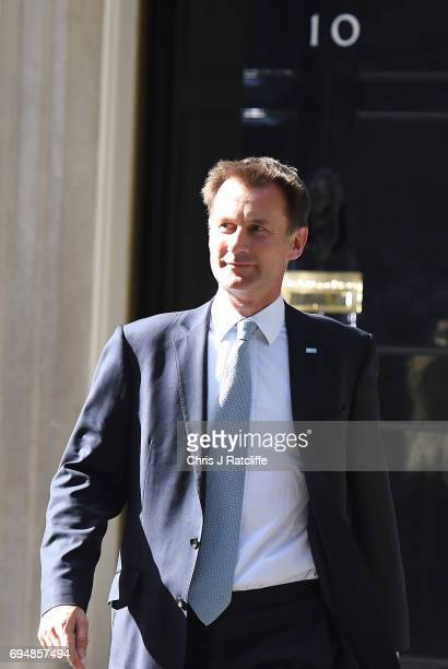 Jeremy Hunt who remains secretary of state for health leaves 10 Downing Street on June 11 2017 in London England Prime Minister Theresa May...