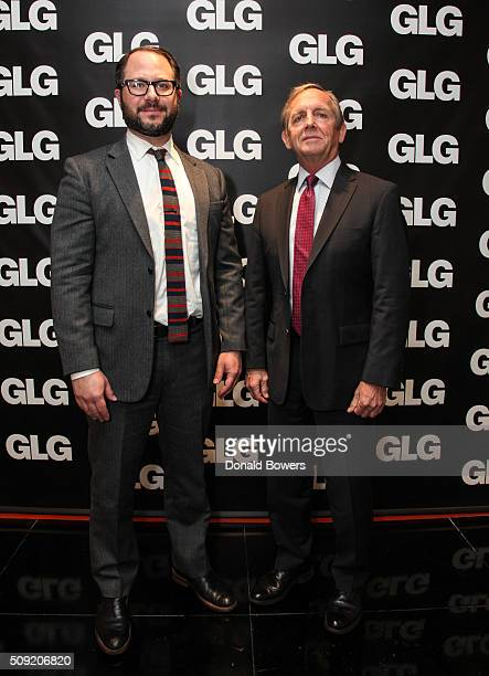 Jeremy Hurewitz Vice President Sales at GLG and Admiral Eric Olson Former Commander Of US Special Operations Command visit GLG on February 9 2016 in...