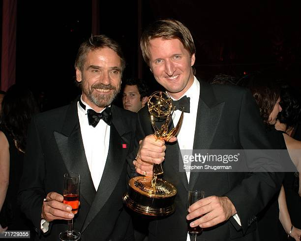 Jeremy Irons, 2006 Emmy winner Supporting Actor, Miniseries and Director Tom Hooper, 2006 Emmy winner ofr Best Miniseries attends the HBO Post Emmy...