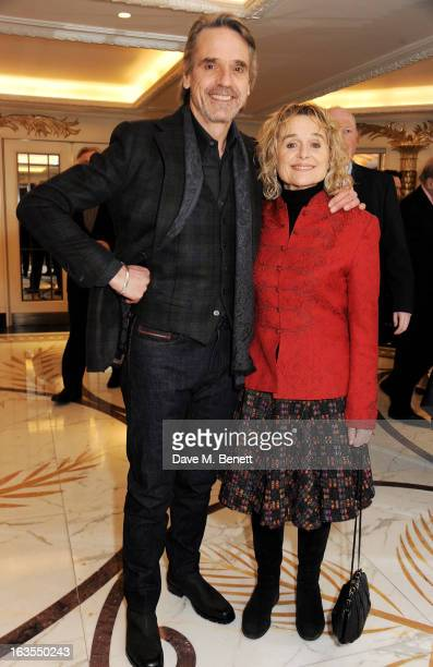 Jeremy Irons and Sinead Cusack arrive at the 2013 South Bank Sky Arts Awards at The Dorchester on March 12 2013 in London England