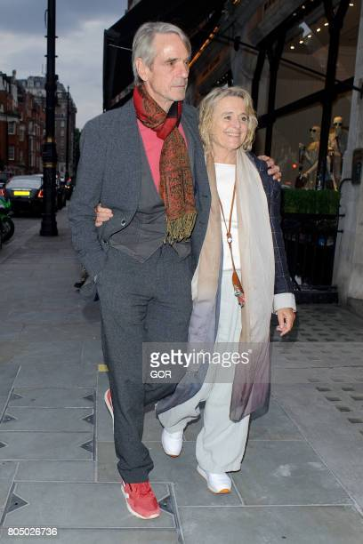 Jeremy Irons and Sinead Cusack arriving at Scotts restaurant on June 30 2017 in London England