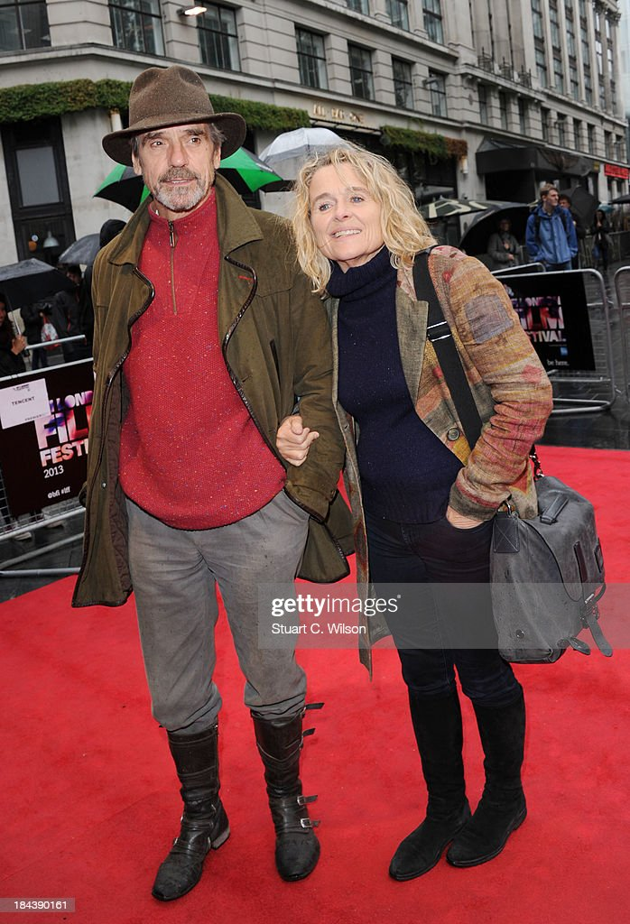 Jeremy Irons and Sinead Cusack attend a screening of 'The Last Impresario' during the 57th BFI London Film Festival at Odeon West End on October 13, 2013 in London, England.