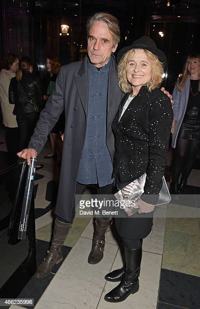 Jeremy Irons and Sinead Cusack attend the Alexander McQueen Savage Beauty VIP private view at the Victoria and Albert Museum on March 14 2015 in...
