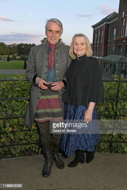 Jeremy Irons and Sinead Cusack attend the ATG Summer Party at Kensington Palace Gardens in celebration of Sir Ian McKellen on September 8 2019 in...