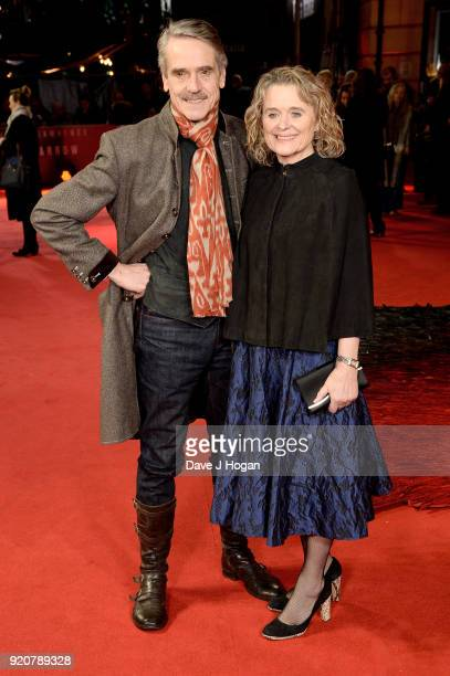 Jeremy Irons and Sinead Cusack attend the European Premiere of 'Red Sparrow' at Vue West End on February 19 2018 in London England