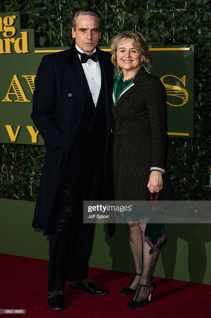Jeremy Irons and Sinead Cusack attends the Evening Standard Theatre Awards at The Old Vic Theatre on November 22, 2015 in London, England.