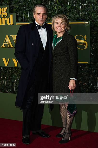 Jeremy Irons and Sinead Cusack attends the Evening Standard Theatre Awards at The Old Vic Theatre on November 22 2015 in London England