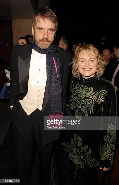 Jeremy Irons and Sinead Cusack during 2007 Laurence Olivier Awards Inside Arrivals at Grosvenor House Hotel in London Great Britain