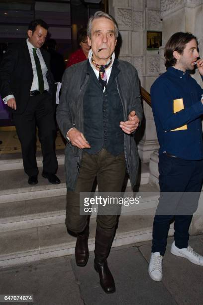 Jeremy Irons attending Children in the Arts private view party at Christies on March 3 2017 in London England