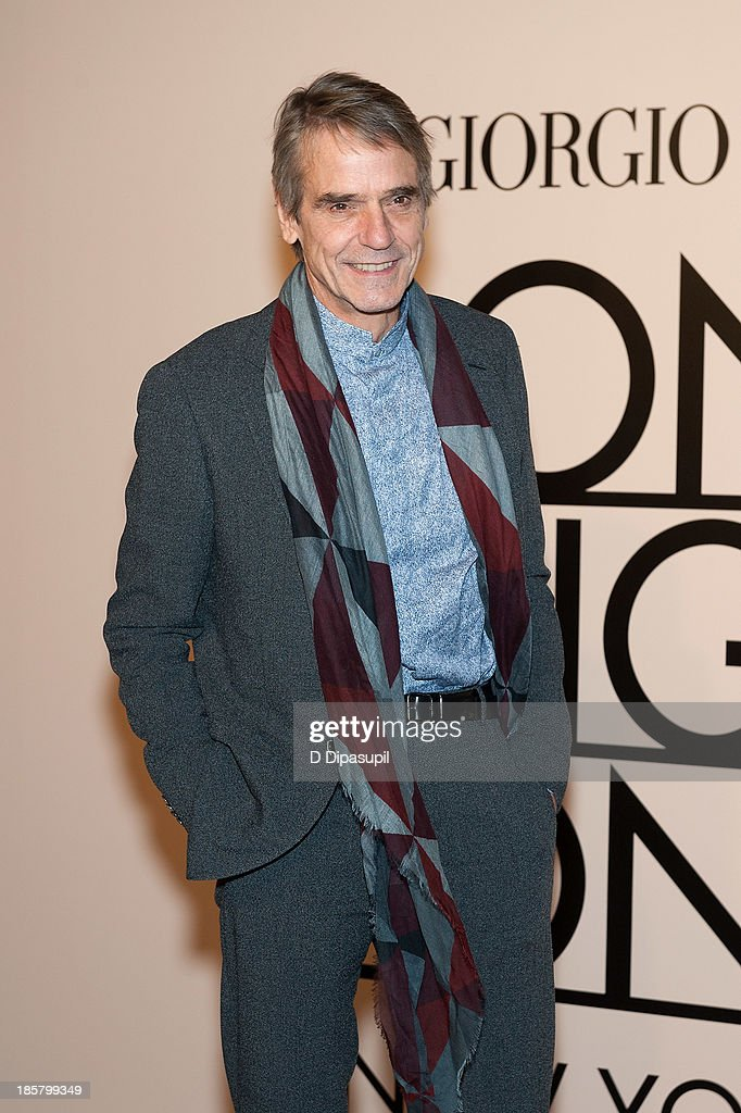 Jeremy Irons attends Armani - One Night Only New York at SuperPier on October 24, 2013 in New York City.