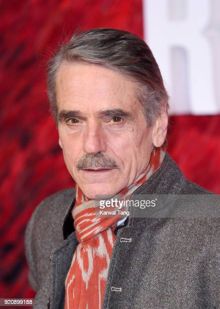 Jeremy Irons attends the European Premiere of 'Red Sparrow' at the Vue West End on February 19 2018 in London England