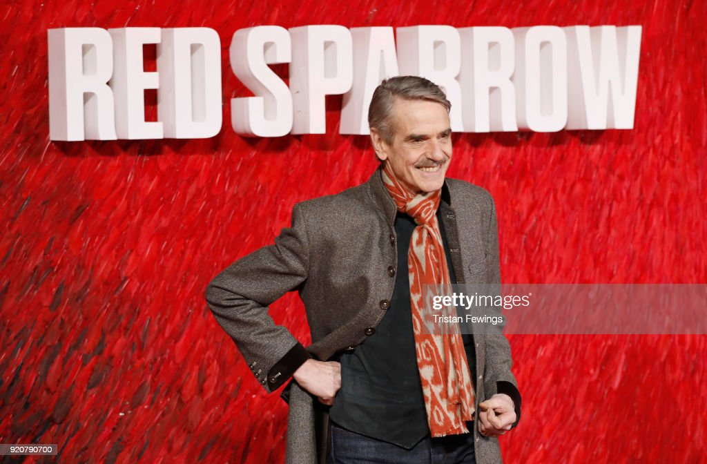 Jeremy Irons attends the 'Red Sparrow' European premiere at the Vue West End on February 19, 2018 in London, England.