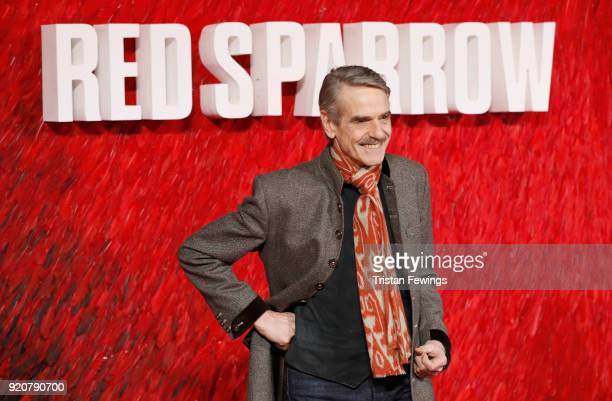 Jeremy Irons attends the 'Red Sparrow' European premiere at the Vue West End on February 19 2018 in London England
