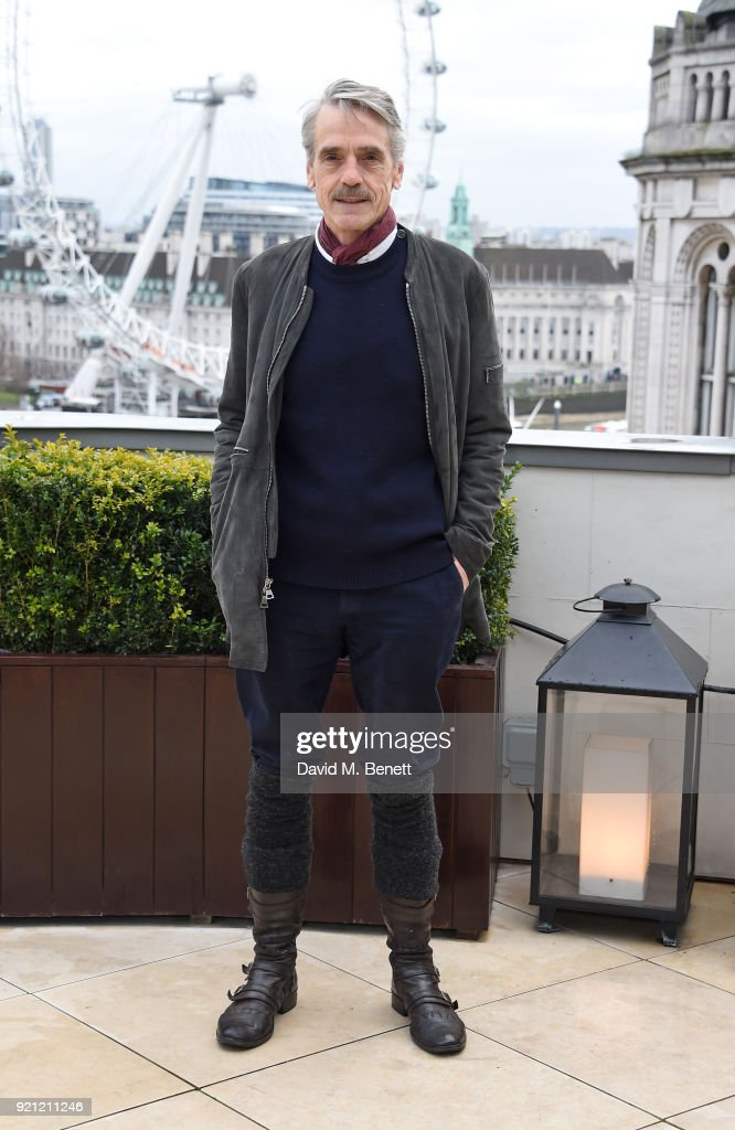 Jeremy Irons attends the 'Red Sparrow' photocall at Corinthia London on February 20, 2018 in London, England.