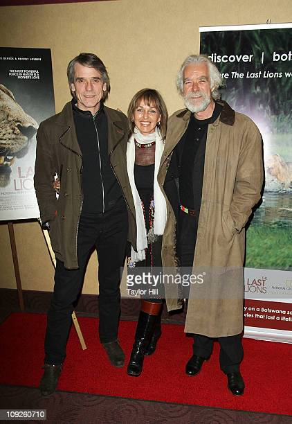 """Jeremy Irons, Beverly Joubert, and Dereck Joubert attend the premiere of """"The Last Lions"""" at Clearview Chelsea Cinemas on February 17, 2011 in New..."""