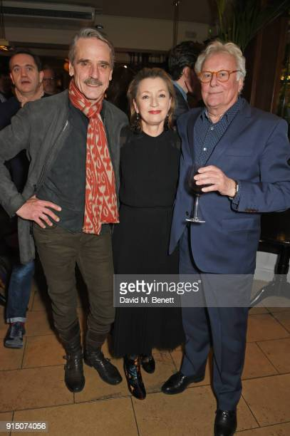 Jeremy Irons Lesley Manville and Sir Richard Eyre attend the press night after party of 'Long Day's Journey Into Night' at Browns on February 6 2018...