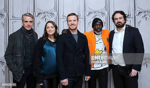 Jeremy Irons Marion Cotillard Michael Fassbender Michael K Williams and director Justin Kurzel appear to promote Assassin's Creed during the AOL...