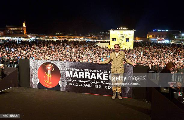 Jeremy Irons presents a special screening of Die Hard With A Vengeance on Jemaa elFnaa square during the 14th Marrakech International Film Festival...