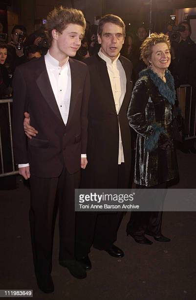 Jeremy Irons with his wife and son during Cesar Awards Ceremony 2002 Arrivals at Chatelet Theater in Paris France