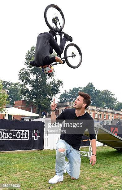 Jeremy Irvine and cyclist Danny MacAskill at the Red Bull Air Race World Championships at Ascot Racecourse on August 14 2016 in Ascot England