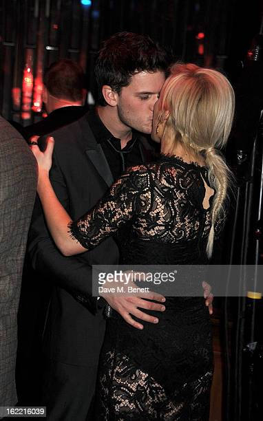 Jeremy Irvine and Ellie Goulding attend the Universal Music Brits Party hosted by Bacardi at the Soho House popup on February 20 2013 in London...