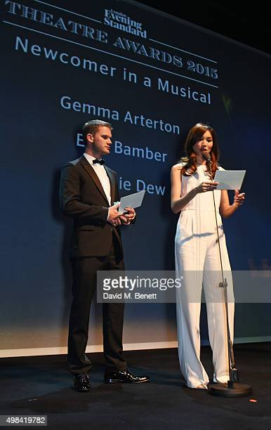 Jeremy Irvine and Gemma Chan present the award for Best Newcomer in a Musical at The London Evening Standard Theatre Awards in partnership with The...